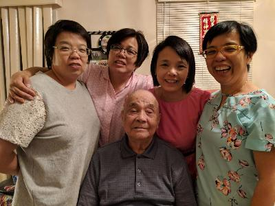 Dad with four beautiful daughters